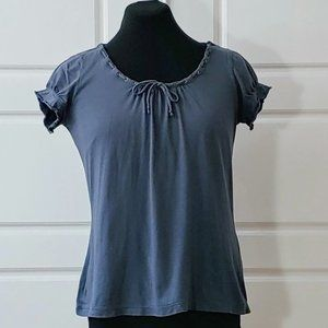 SANDWICH gray laced up neckline puff sleeves top
